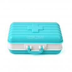 Creative Luggage Modeling Mini Pill Case, Jewelry Storage Box 6 Slots Multifunctional Organizer for Ladies