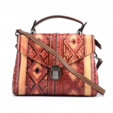 Women's Retro Handbags, Embossed European Diagonal, Hand-painted First Layer Leather Handbags With Texture Hardware