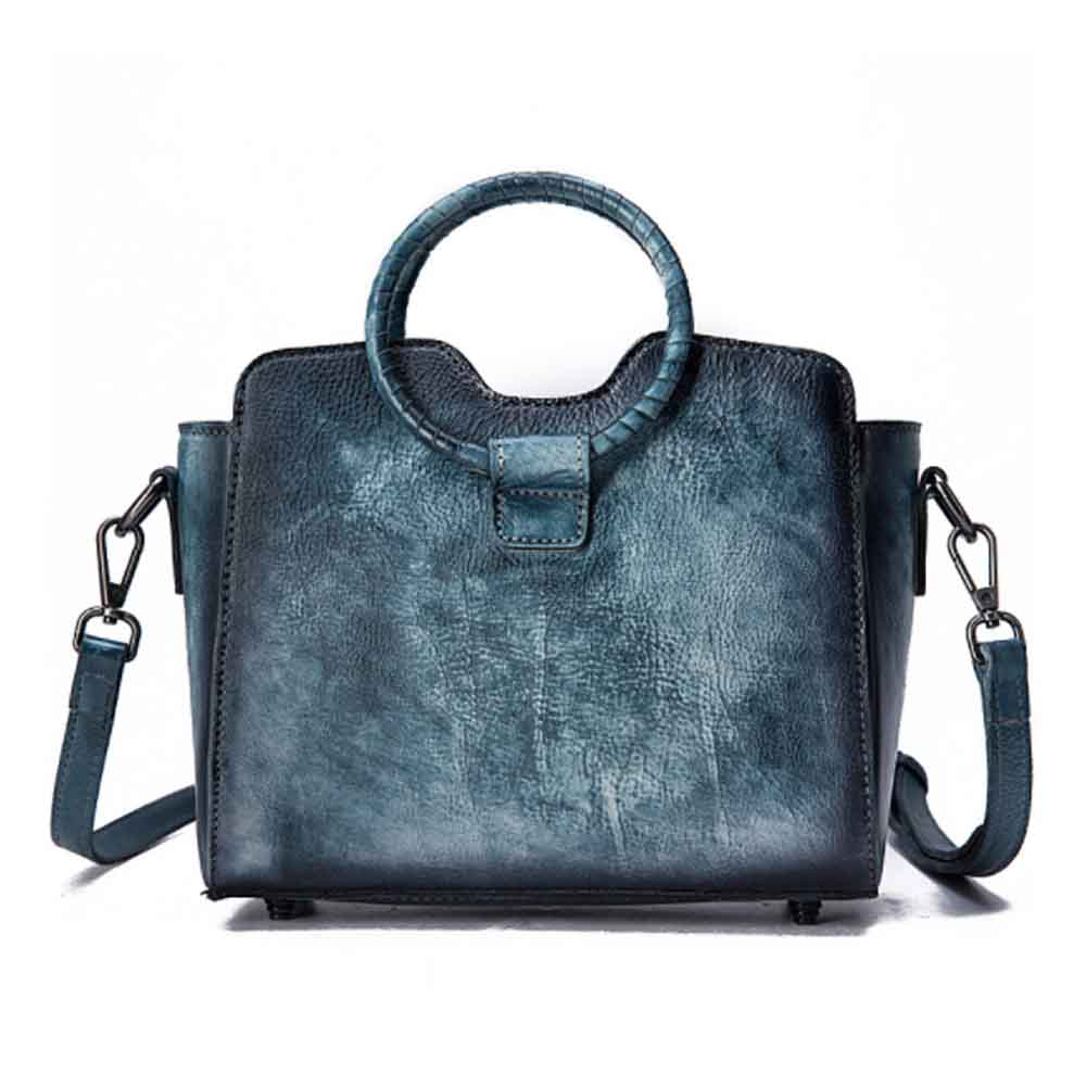 Retro Female Leather Handbag With Hardware Fasteners, Fashion Diagonal Cross Solid Color Lady Wing Bag