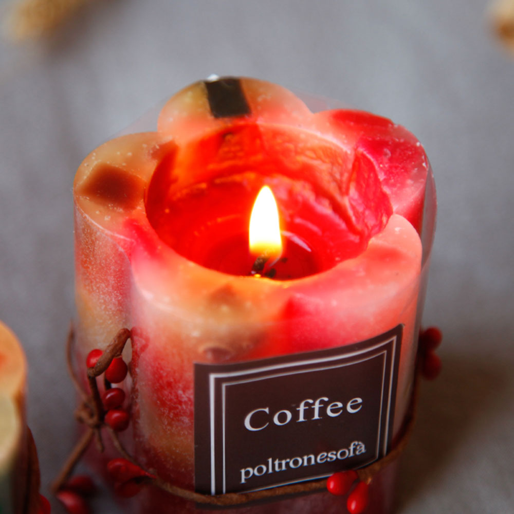 Romantic Atmosphere Flower Cylinder Shaped Scented Candle, Creative Smokeless Fragrance Home Living Room Decoration