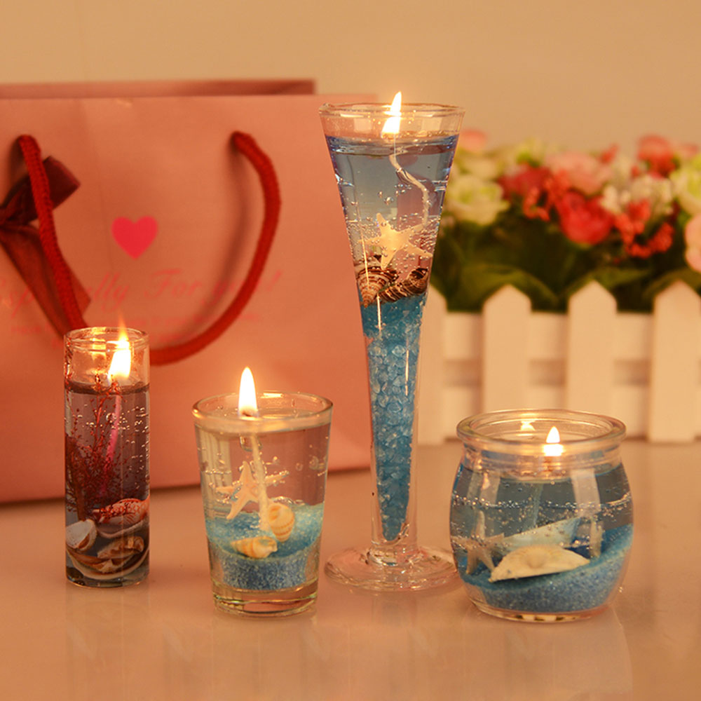 Romantic Fragrance Scented Candles Set Marine Organism Decoration, Valentine's Day Weeding Birthday Present Jelly Candle Suit