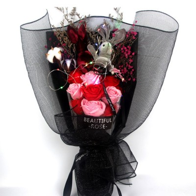 Dry Flower Rose Preservation with Flashing Light, Decorative Box and Rabbits | Valentine's Day Gift