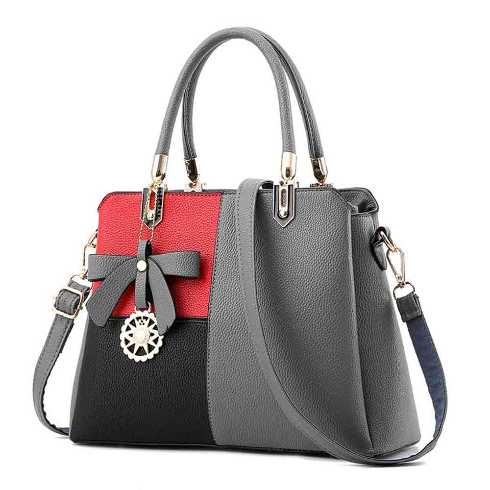 PU Leather Color-block Handbag for Ladies, Fashion Elegant Bag With Smooth Hardware Zipper, Large Capacity