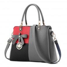 PU Leather Color-block Handbag for Ladies, Fashion Elegant Bag With Smooth Hardware Zipper, Large Capacity