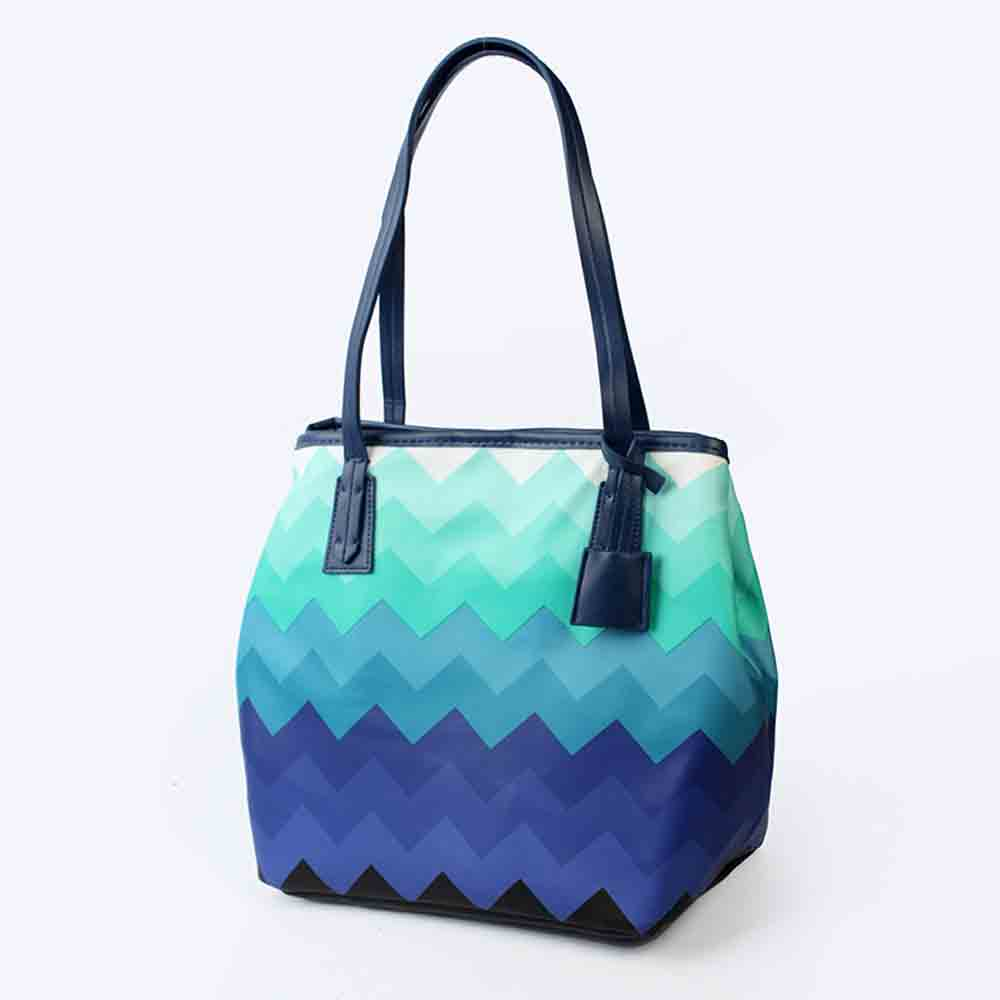 Wavy Stripe Color Handbag With Multifunctional Internal, Fashion Scratchproof Wear-resistant Handbag For Beauty Girl And Ladies
