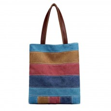 Women's Canvas Shoulder Bag With Hit Color Striped Stitching, Commuter Fashion Portable Handbag For Ladies