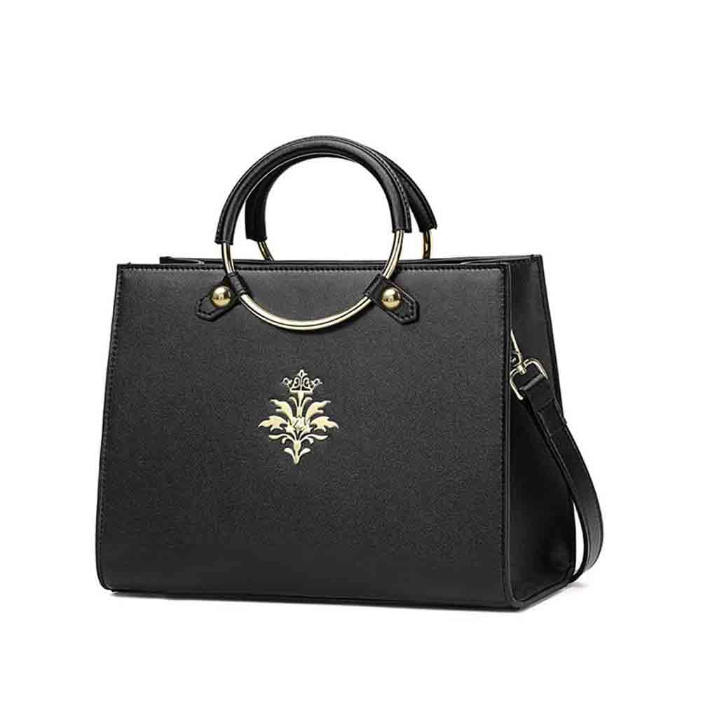 Leather Handbag With Comfortable Ring Hand Strap, Elegant Temperament Simple Shoulder Bag for Women