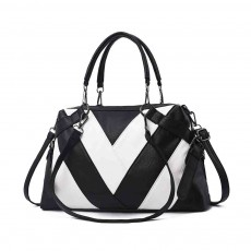 Geometric Stripe Handbag With Detachable Shoulder Strap And Large Capacity, Fashion Elegant PU Leather Bag for Ladies