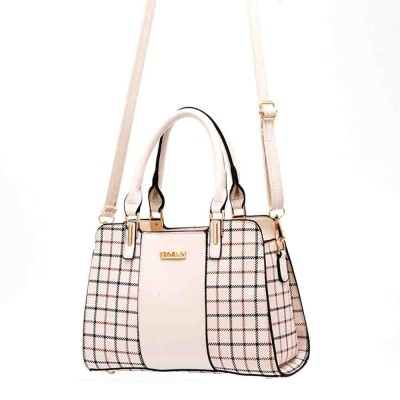 Plaid Handbag With Detachable Shoulder Strap And Exquisite Metal Buckle, Fashion Elegant PU Leather Bag for Mother