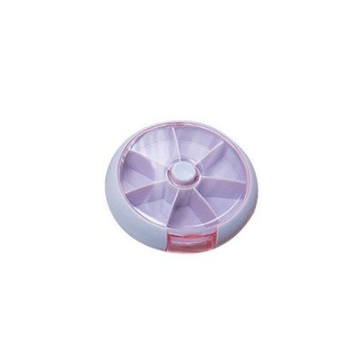 Round Seven Grid Pill Box, Travel Tablet Pill Box 7 Day, Weekly Medicine Case Dustproof Mini Rotate Round Pill Cases