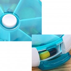 Travel Tablet Pill Box 7 Day, Weekly Medicine Case Dustproof Mini Rotate Round Pill Cases