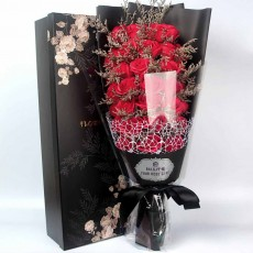 Preserved Fresh Rose with Dry Flower for Valentine's Day, Romantic Rose with Luxurious Gift Box for Girlfriend