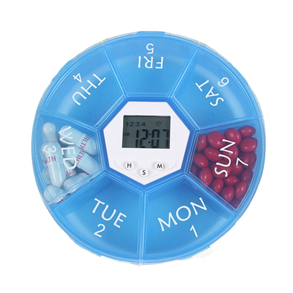 Electronic Pill Box Timer Reminder, Night Lighting Reminder 7-divided Pill Case Kit
