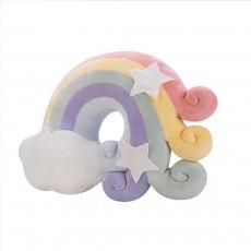 Cute Pillows For Girls, Soft Flannel Cushion, Rainbow Crown Star And Moon Home Decor
