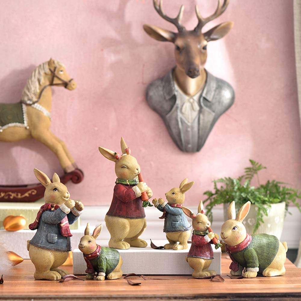 Resin Easter Hand-Painted Forest Bunny with Idyllic Home Style for Wine Ark & Windowsill, Decorative Centerpiece