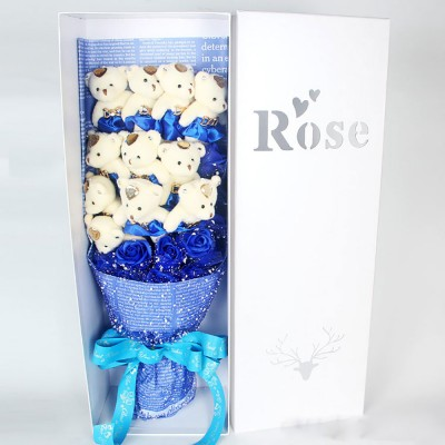 Valentine's Day Mother's Day Gift Imitation Roses 11 PCS Bears with Preserved Rose for Girls, Girlfriend, Teachers, Mommy