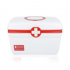 Empty First Aid Kit, Portable Medicine Storage Box, Plastic Double-layer Emergency Medicine Kit