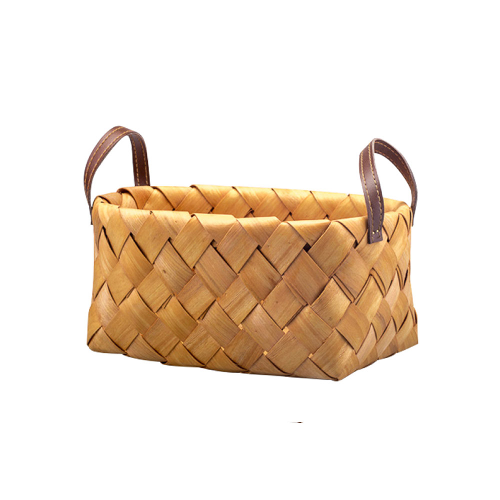 Hand Woven Basket with Double PU Strap Handle, Portable Care Products Storage Basket