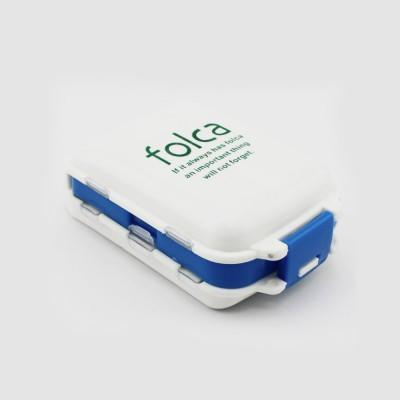 Foldable Folca Pill Box, 8-Grids Travel Tablet Pill Case, Dustproof Capsule Pill Storage Box