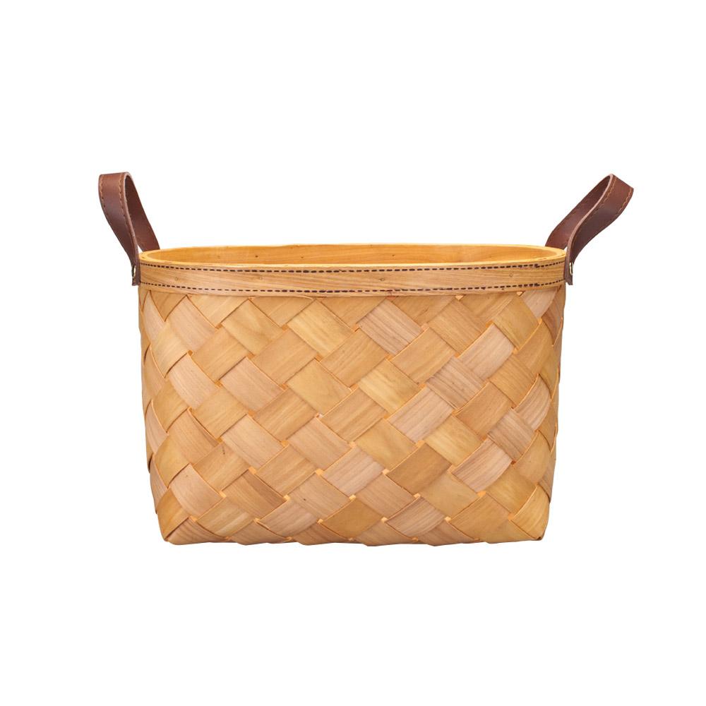 Woven Basket with Double PU Strap Handle, Large Capacity Storage Basket, Portable Picnic Basket