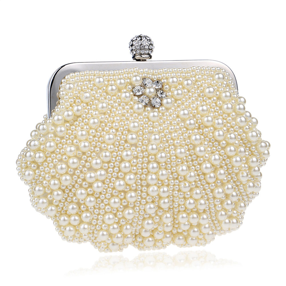 Beaded Pearl Dinner Bag, Women's Fashion Party Bag, High-quality Polyester Evening Dress Clutch