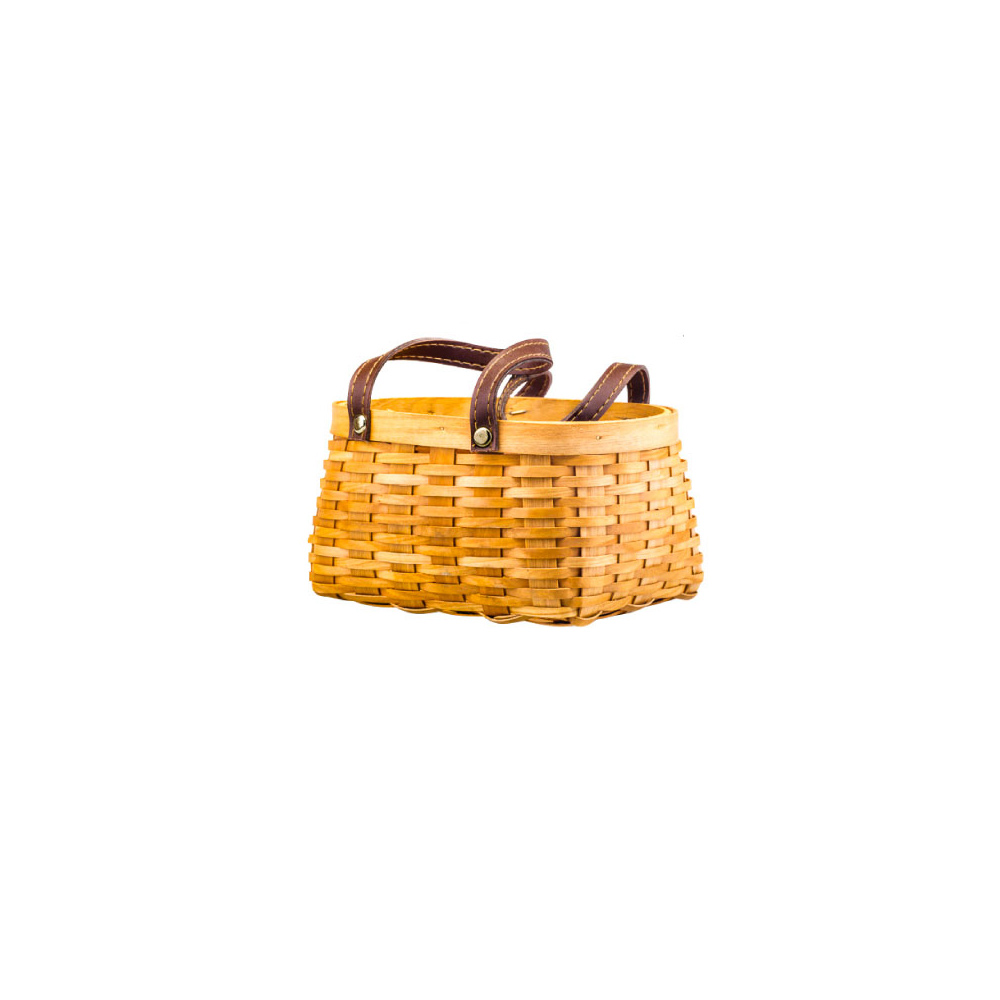 Hand-woven Wooden Picnic Basket with Double PU Hand Strap, Portable Clutter Basket for Storage