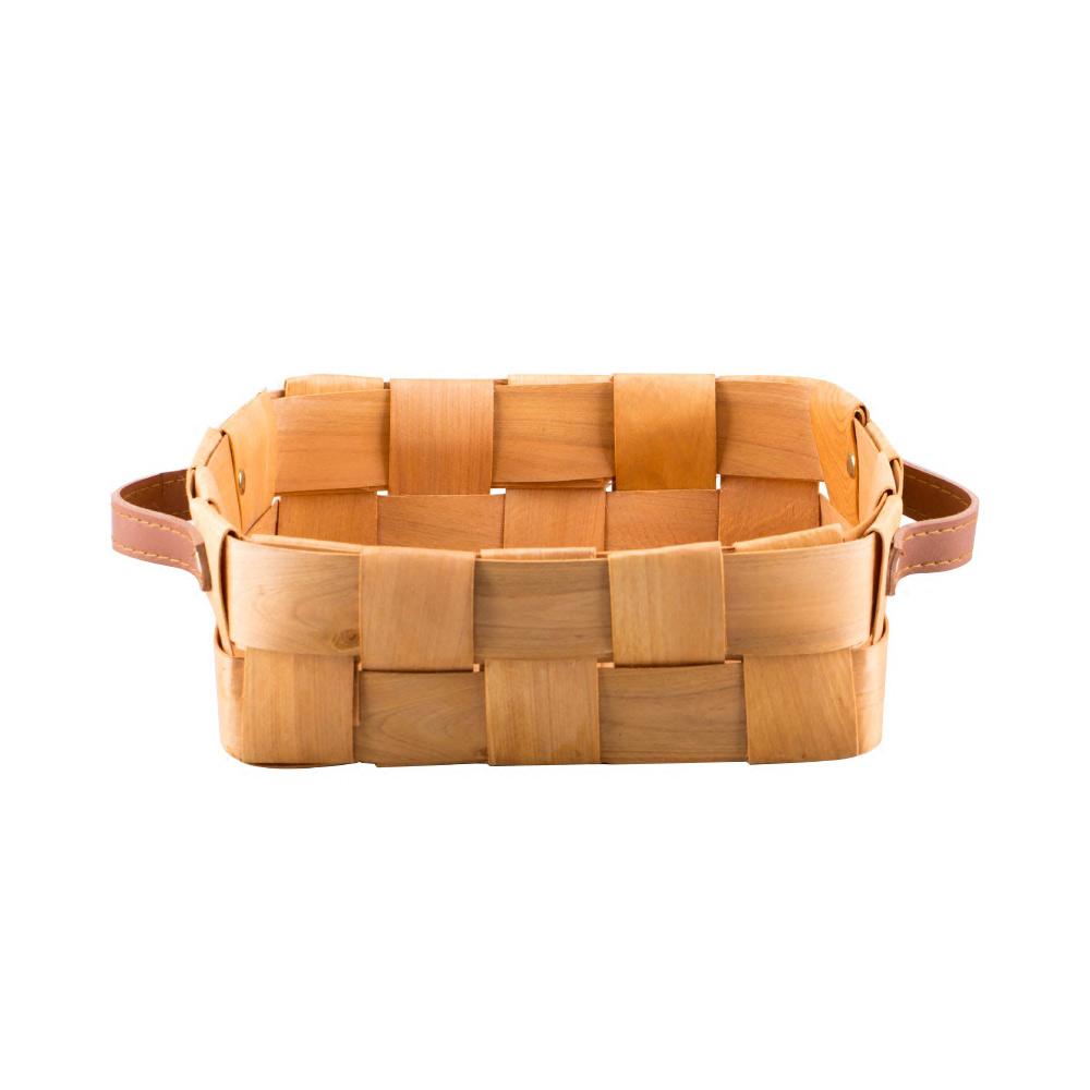Woven Fruit Basket, Portable Picnic Storage Basket with Double PU Strap Handle
