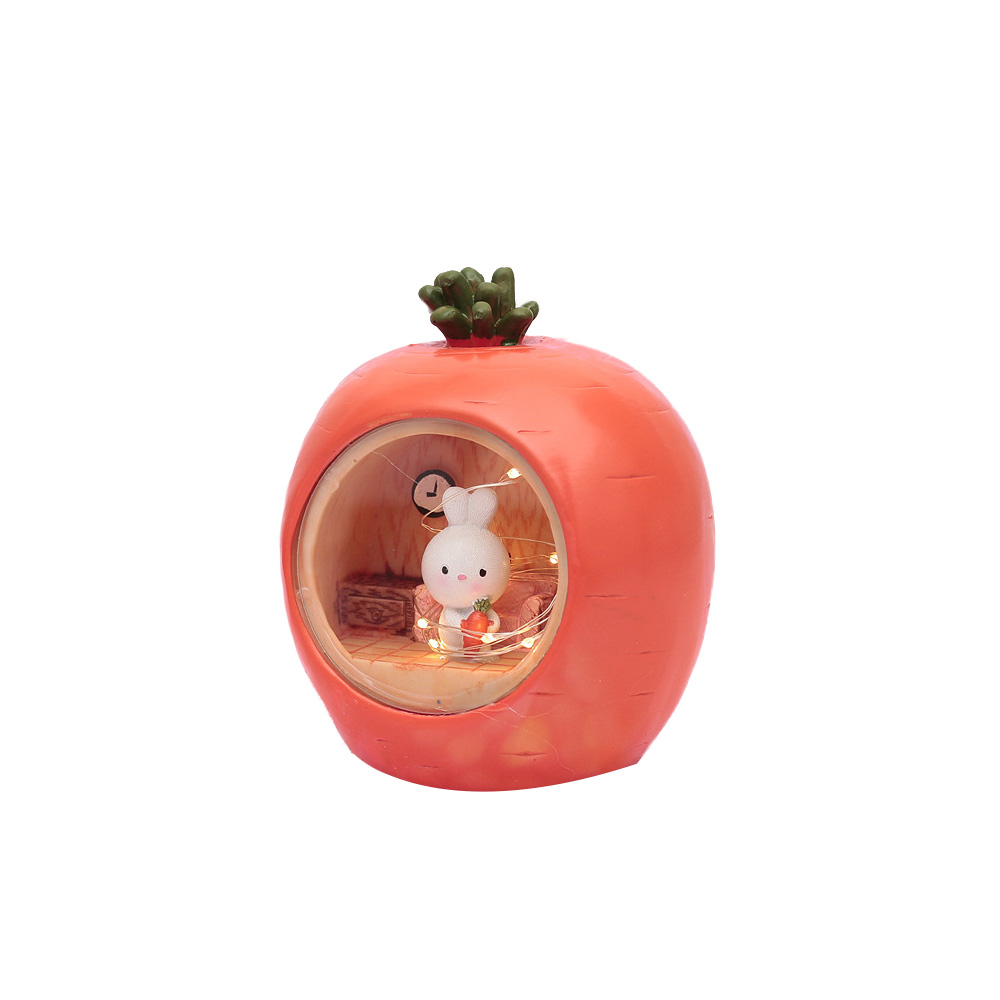 Easter Present Lovely Cartoon Bucolic Rabbit with Carrots Star Lamp, Night Light Bedside Lamp