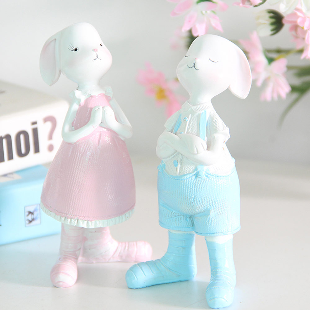 Cartoon Girl Bunny for Birthday Gift and Decoration, Seating and Standing Rabbits Easter Present