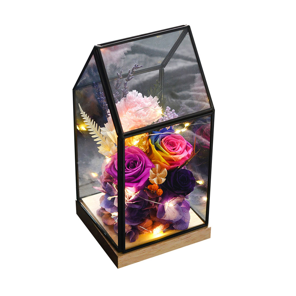 Preserved Roses In Glass Dome, Never Withered Rose with Room Shape Glass, Valentine Gift Preserved Flower