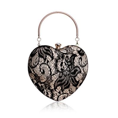 Peach Heart-shaped Handbag, Fashion Banquet Ladies Clutch, Imitation Silk Purse 2019