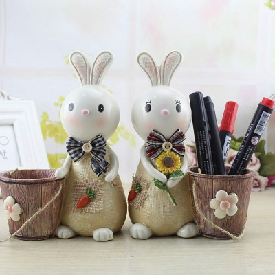 Rabbit Storage Drum for Brush Pot & Piggy Bank, Multi-functional Resin Easter Desktop Decorations