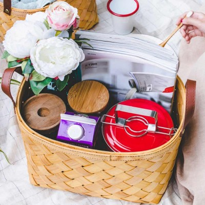 Woven Basket with Double PU Strap Handle, Large Capacity Storage Basket, Portable Picnic Basket