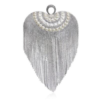 Tassel Evening Bag, Luxury Female Clutch, Mini Heart-shaped Polyester Dress Clutch 2019