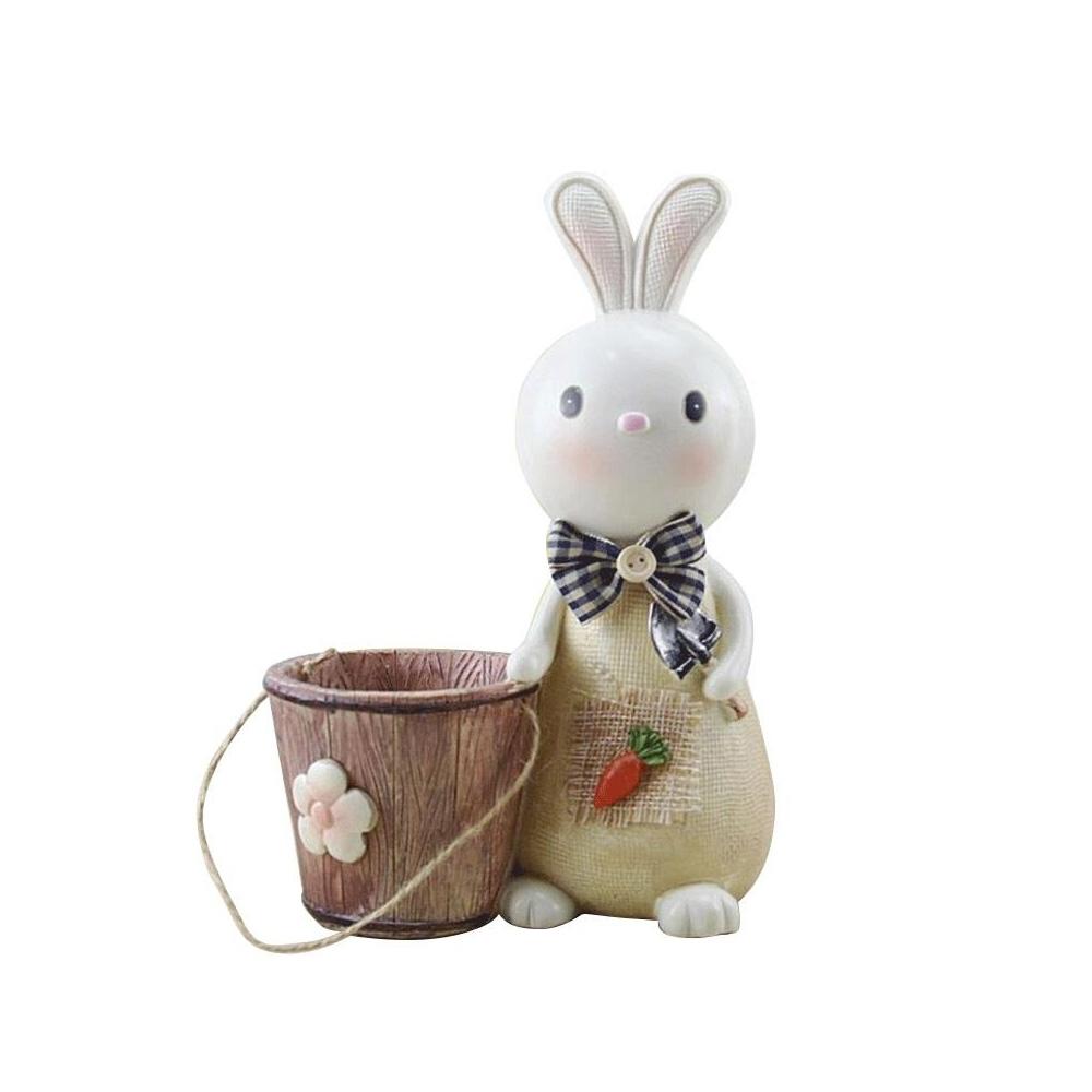 Rabbit Storage Drum for Brush Pot & Piggy Bank, Multi-functional Resin Easter Desktop Decorations