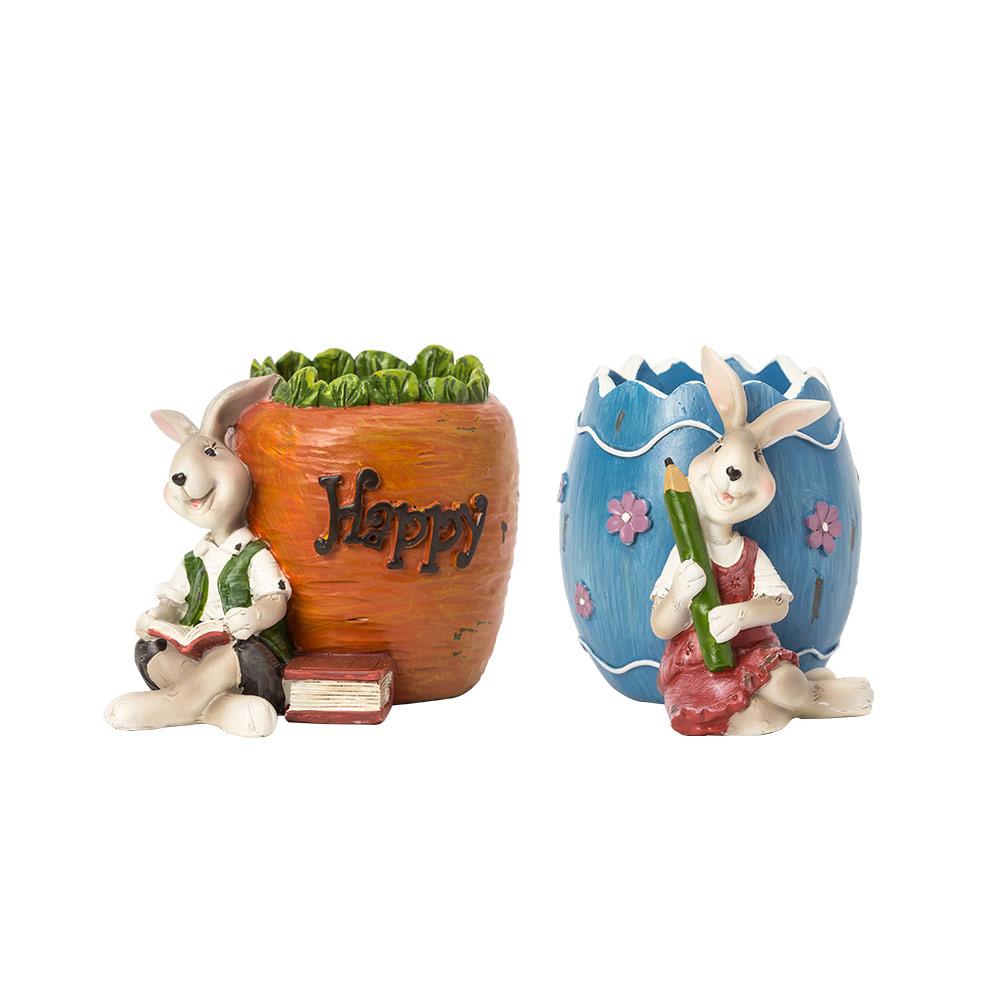 Cartoon Bucolic Rabbit Brush Pot, Lovely Easter Pen Container, Resin Desktop Decoration
