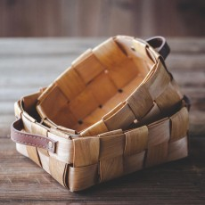 Woven Fruit Basket, Portable Picnic Storage Basket with Double PU Strap Handle