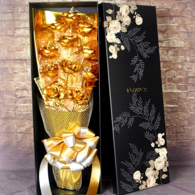 Gold Foil Rose 24K for Girlfriend, Mommy, Valentine's Day Gift 11 Mosaic Gold Roses