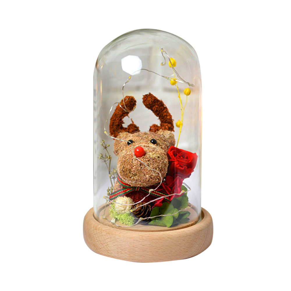 Preserved Flowers In Glass, Romantic Valentine's Day Christmas Gift Preserved Fresh Rose with Deer Decoration for Girl