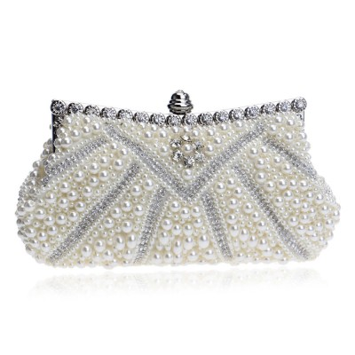 Luxurious Pearl Evening Clutch Bags, Women's Handmade Full Pearl Bridal Evening Clutch Bag