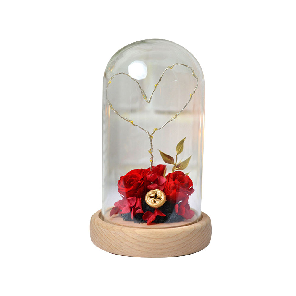 Imitation Rose Preserved Fresh Flower with LED Light Glass Cover, Great Valentine's Day Gift