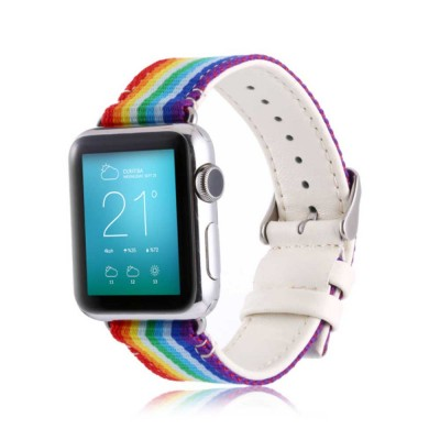 Watchband For Apple Watch, Nylon and Cowhide Band Matching for Apple Watch Casual Strap for Sports, Causal
