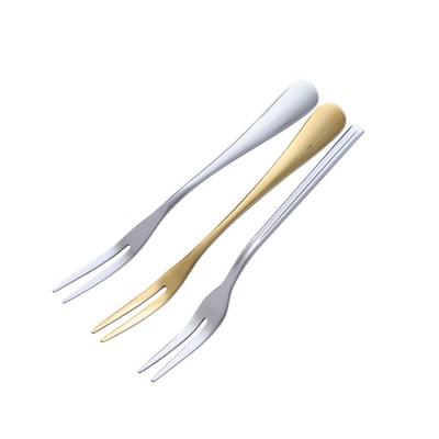 Durable 304 Stainless Steel Fruit Fork, Mirror Polishing Dessert Cake Fork, 5 Forks 2 Tooth Fork
