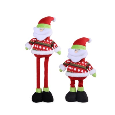 Standing Telescopic Santa Snowman, Figurine Santa Claus Posing Christmas Doll for Gifts