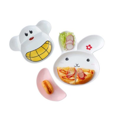 Children Tableware Baby Compartment Tray, Creative Cartoon Cute Plate, Ceramic Fruit Western Food Dish