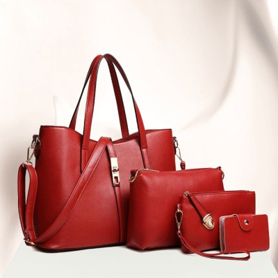 Simple Women Accessories Lady Tote Bag Sets - 3pcs Solid PU Leather Shoulder Bag & Cross Body Pouch & Strapped Clutch
