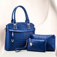 Elegant Lady Accessories Sets 3pcs Crocodile Stria Embossed PU Leather Shoulder Bag & Cross Body Pouch & Strapped Clutch