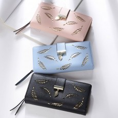 Women Long Wallet, PU Leather Zipper Change Purse, Hollow-out Leaves Card Bag Casual Handbag