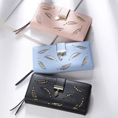 Women Long Wallet, PU Leather Zipper Change Purse, Hollow-out Leaves Card Bag Casual Handbag