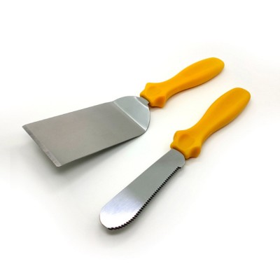 Stainless Steel Shovel Knife, Butter Cheese Cutter Knife, Cook Accessories Cooking Pizza Food Shovel, PP Handle, Set Of 3